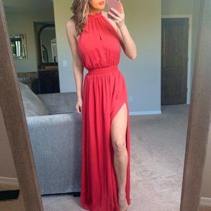 The Jetset Diaries Neon Coral Shale Maxi Dress XS